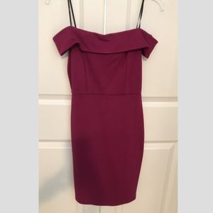 Maroon Off-The-Shoulder Bodycon Dress